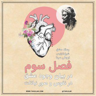 رساله عشق ابو علی سینا فصل سوم - رساله عشق ابن سینا - در بیان وجود عشق در نفوس و صور نباتات
