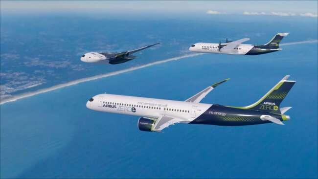 سه هواپیمای تجاری سوخت هیدروژنی ایرباس