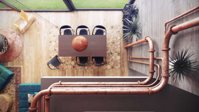 exposed copper pipes in industrial dining room