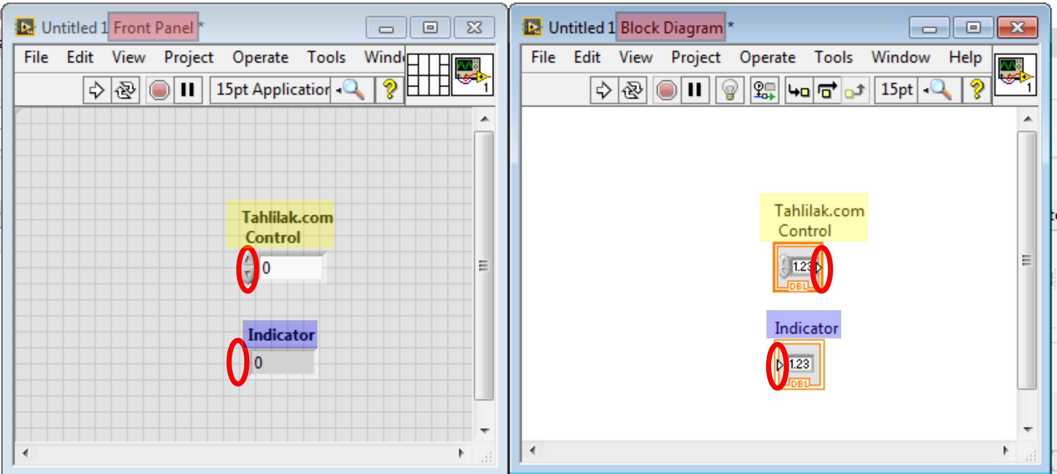 Controls and Indicators diference Labview