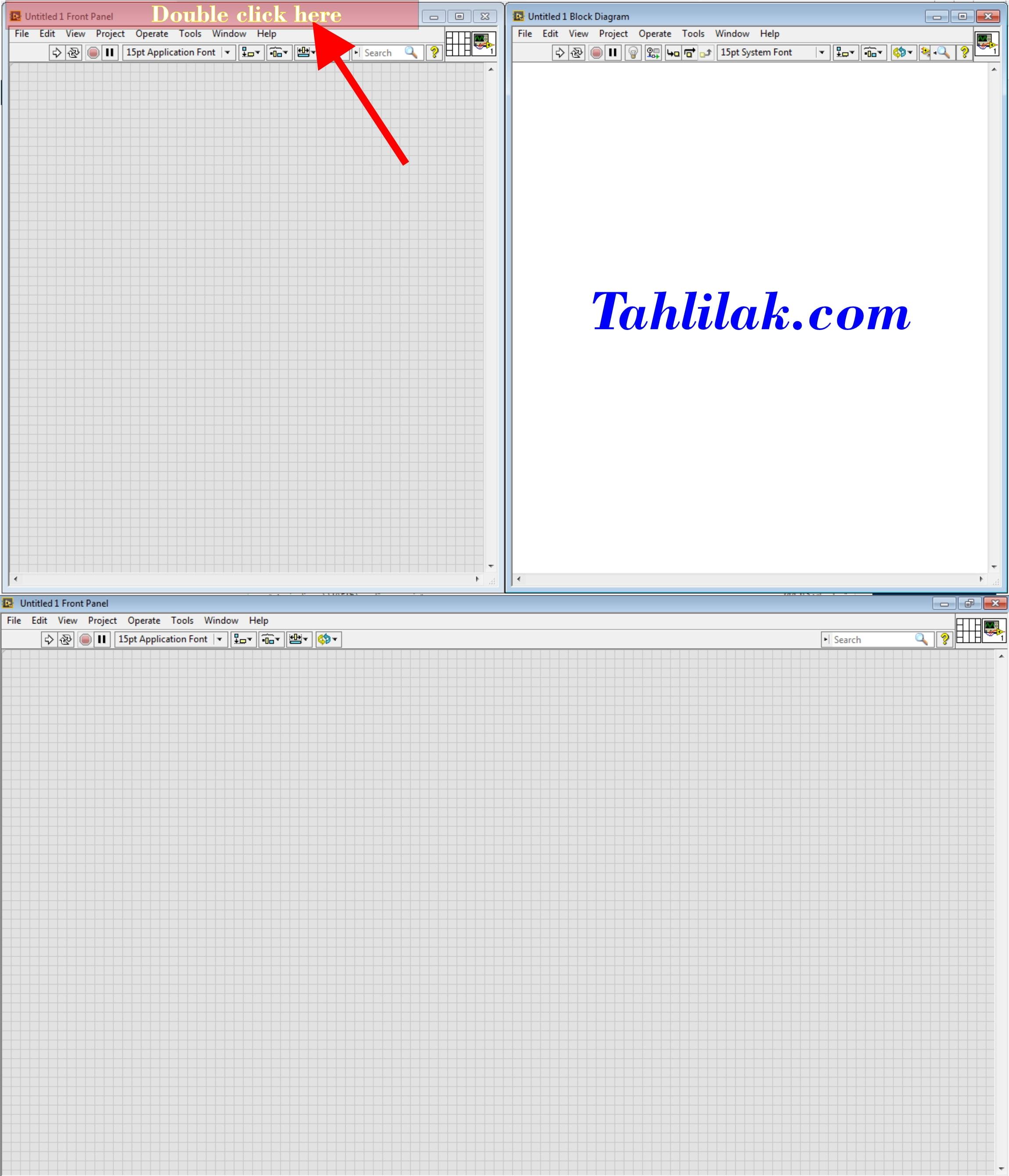 آموزش لب ویوو / ورود به لب ویوو - full screen front panel Block diagram in labview