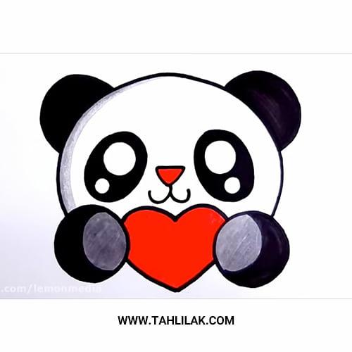 آموزش نقاشی پاندا بامزه برای کودکان / به همراه ویدیو