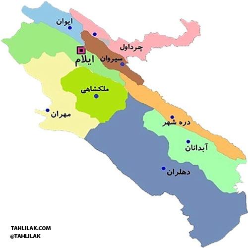 نقشه استان ایلام
