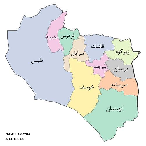 نقشه استان خراسان جنوبی