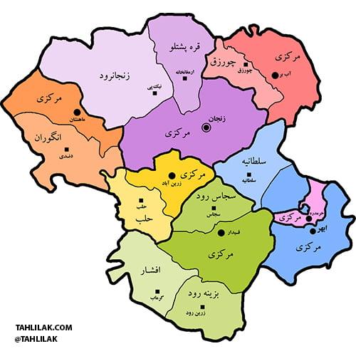 نقشه استان زنجان