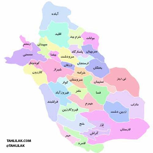 نقشه استان فارس