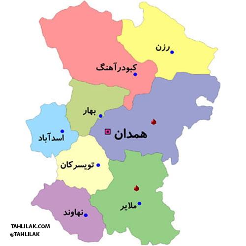 نقشه شهرستان های استان همدان