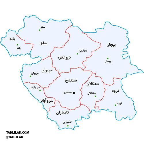 نقشه شهرستان های استان کردستان
