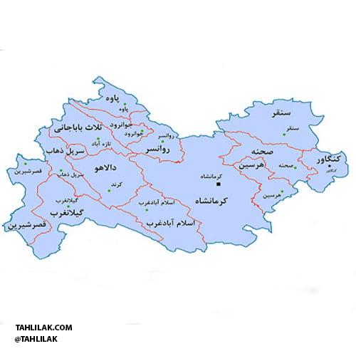 نقشه استان کرمانشاه