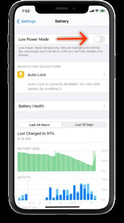 روش های حفظ عمر باتری آیفون اپل Low power mode