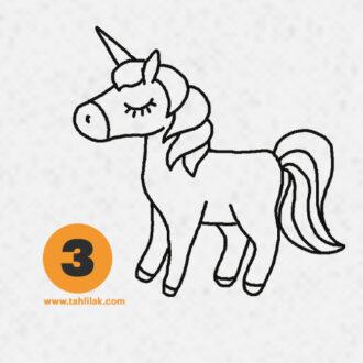 نقاشی اسب تک شاخ