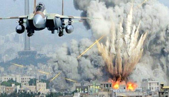 بمباران یمن با جنگنده های سعودی