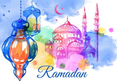 watercolor drawing ramadan kareem vector background 584833