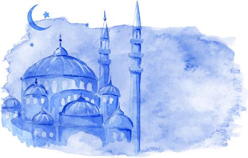 watercolor drawing ramadan kareem vector background 584844