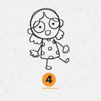 آموزش نقاشی دختر ساده برای کودکان