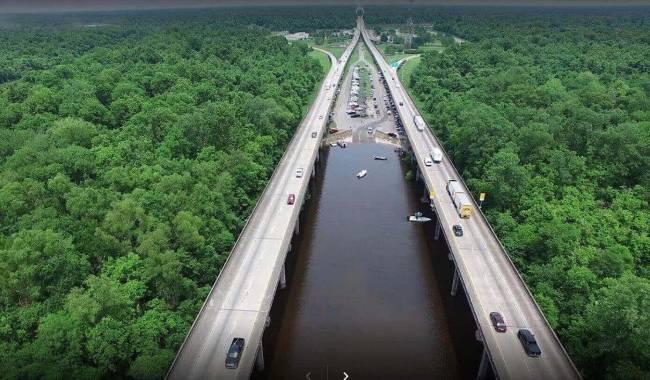 طولانی ترین پل جهان Manchac Swamp Bridge