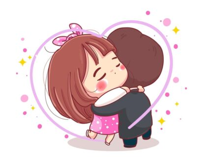 character of romantic couple hug for happy valentine s day concept isolated on white background vector
