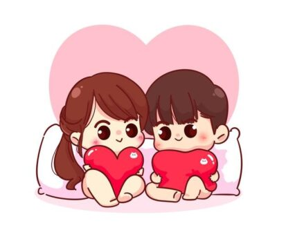 lovers couple sitting with pillow heart shaped happy valentine cartoon character illustration 56104 396