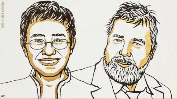 جایزه صلح نوبل امسال به دو خبرنگار اهدا شد