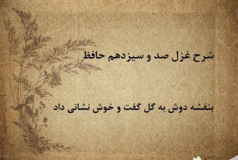 شرح غزل 113 حافظ / بنفشه دوش به گل گفت و خوش نشانی داد