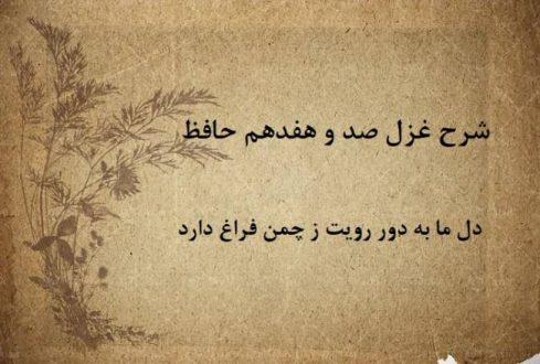 شرح غزل 117 حافظ / دل ما به دور رویت ز چمن فراغ دارد