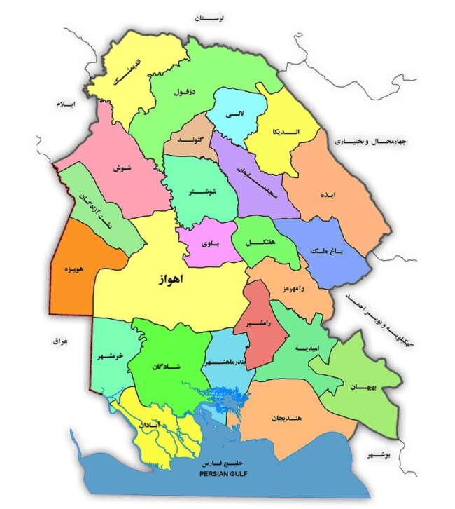 نقشه شهرستان های استان خوزستان
