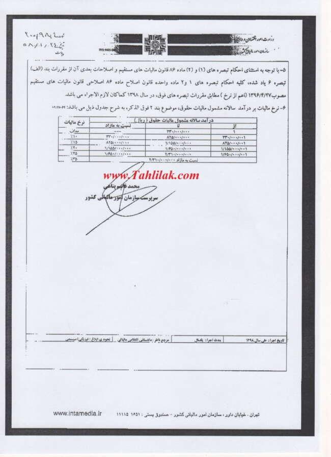 img041 - بخشنامه شماره 200/98/4 در خصوص ابلاغ معافیت های مالیاتی حقوق 1398
