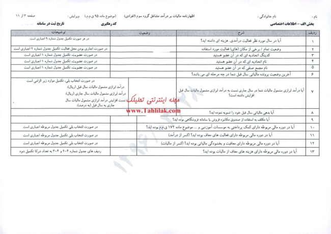 m3 - اظهارنامه مالیاتی – آشنایی با اظهارنامه مالیات بر درآمد مشاغل گروه سوم (صفحه سوم)